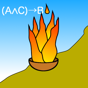 "IMAGE DESCRIPTION: A bowl with fire coming out of it representing Logos, the spirit of logic and reason and the Force pervading all things. Just to clarify it's logical nature, the background has the Logic equation ""(A∧C)→B"". The bowl is placed on the side of a mountain to represent the world and all the difficulties in it. This image is for articles in this blog relating to Stoic philosophy."