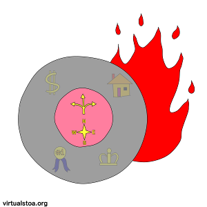 IMAGE DESCRIPTION: Two circles one within another. The inner circle features a geocompass and one of those arrows that splits into three directions - all that symbolizing one's own choices and decision-making. In the outer circle, faded out underneath the circle's gray fill-color, are a picture of a house, a dollar-sign, a first-place medal, and a crown - all symbols of external, worldly things that many people covet. Behind the set of two circles, one can see the flame that represents the Logos burning in the background. This image is for articles on this site (virtualstoa.org) that prominently feature discussion on the Stoic concept of Locus of Control.
