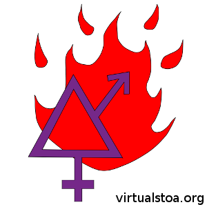 "IMAGE DESCRIPTION: A purple hollow-triangle with the extentions of the ""mars symbol"" and the ""venus symbol"" is featured in the foreground. This is one of the symbols of the transgender community. Behind it is the fire that represents the Logos. This image is for articles in this blog (virtualstoa.org) that pertain to transgender issues and how Stoicism applies to them."