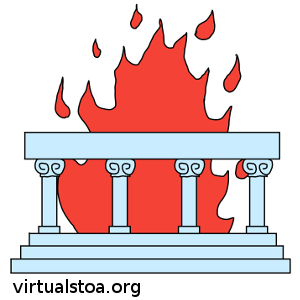 "IMAGE DESCRIPTION: A colonade (i.e. ""Stoa"") is seen, with the flame representing the Logos burning behind it. This image is site-news on this blog (virtualstoa.org)."